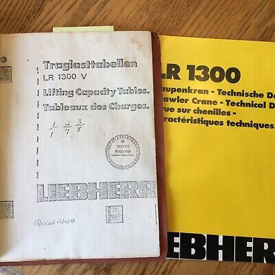Liebherr Lr1300v Crawler Crane Lifting Capacity Tables Load Charts Bookbrochure