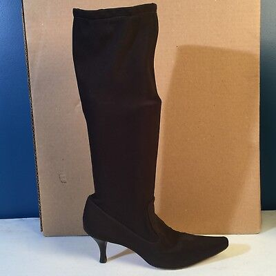 (COLE HAAN Chocolate Brown Tall Stretch Boots 8.5 B)