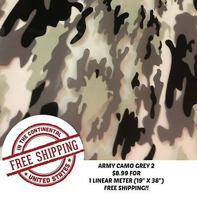 Hydrographic Water Transfer Hydro Dipping Army Camo Grey 2 Film 1m 19x38