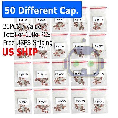 1000 Pcs Ceramic Capacitor Assorted Kit Assortment Set 50 Values 50v - Us Seller