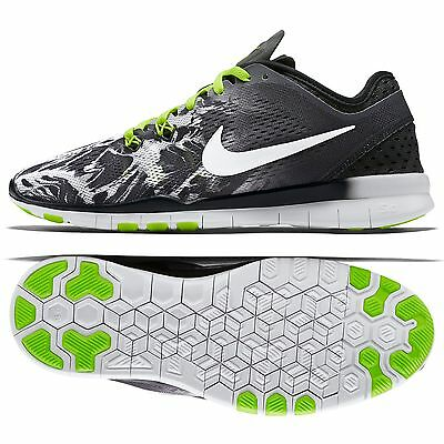 ... Nike Free 5.0 TR Fit 5 Print 704695-014 Black/White/Volt Women&