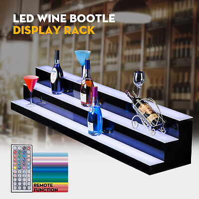 60 3 Step Tier Led Lighted Back Bar Glowing Liquor Bottle Display Shelf Stand