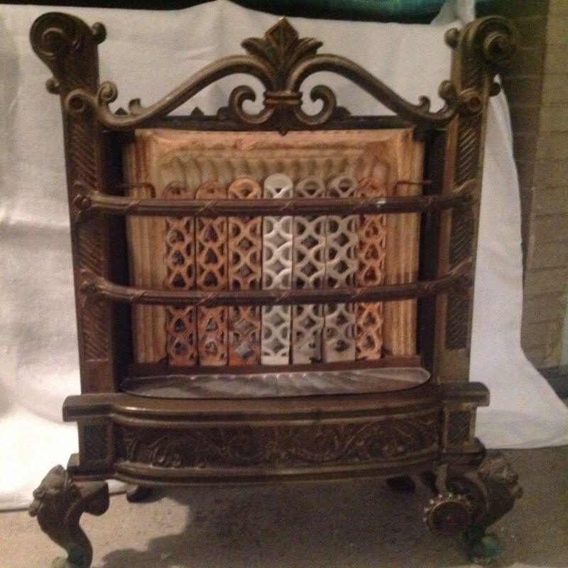 Antique Humphrey Radiantfire Fireplace Gas Burner Ornate Cast Iron