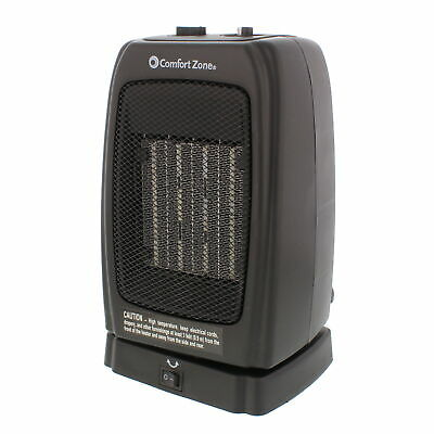 Comfort Zone CZ448 Black Compact Oscillating Ceramic Heater,