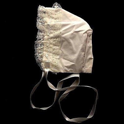Vintage Baby Bonnet White Lace Ribbon White Old Fashioned Girl  size 3 mon
