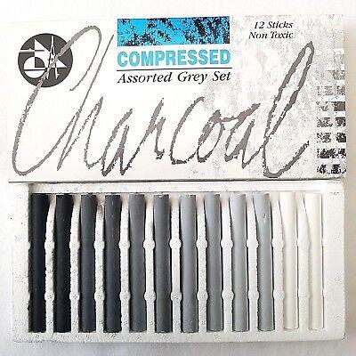 12 Set Jakar Compressed Charcoal Black Grey & White Artist Pastels Sketching Art