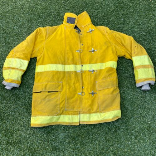 44x35 Globe Firefighter Brown Turnout Jacket Coat with Yellow Tape
