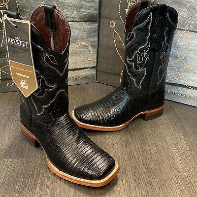 MEN'S RODEO COWBOY BOOTS LIZARD PRINT LEATHER WESTERN SQUARE TOE BLACK BOTAS   Black Lizard Cowboy Boots