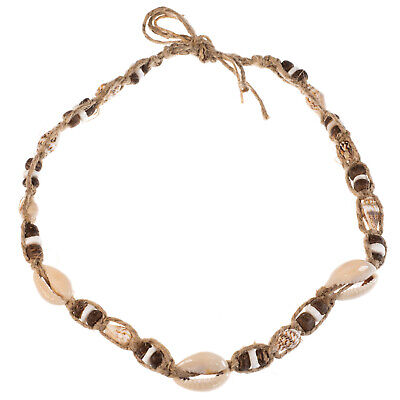 Cowrie, Nassa and Clam Shell Coconut Wood Bead Choker Necklace Braided Hemp Cord