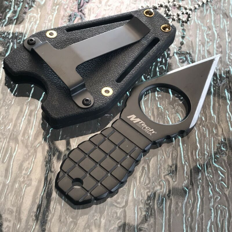 "4.25"" MTECH USA GRENADE NECK DOUBLE EDGE FIXED BLADE BLACK KNIFE w Sheath New"
