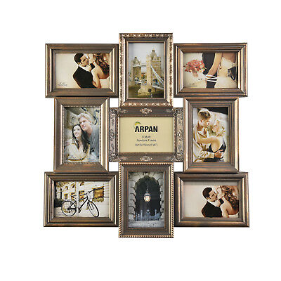 Multi Photo 9 Picture Large Decorative Vintage Frame Collage Aperture Wall