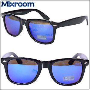 Occhiali da sole nerd wayfarer vintage nero lenti a - Occhiali specchio blu ...