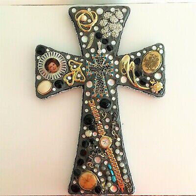 Handmade Vintage Jewelry Memorial Cross Mixed Media Art 13