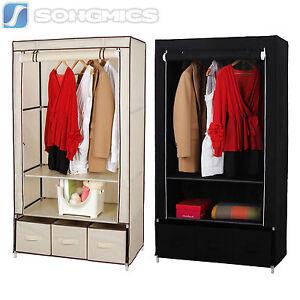 songmics armoire penderie en tissu meuble de rangement avec 3 tiroirs noir beige. Black Bedroom Furniture Sets. Home Design Ideas