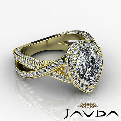 Cross Shank Milgrain Edge Halo Pear Cut Diamond Engagement Ring GIA G VS2 2.45Ct 8