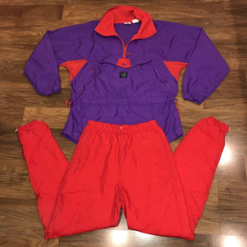 Vtg 80s IN SPORT Womens MEDIUM Jogging TRACK SUIT Windbreaker Jacket Pants Set
