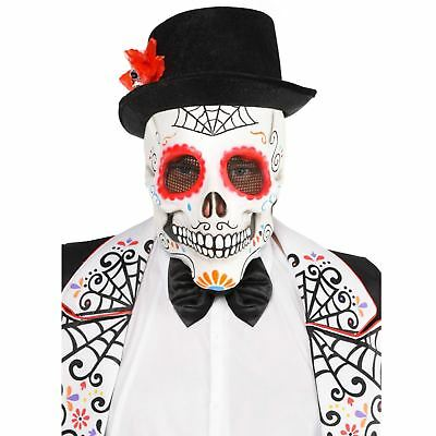 Adults  Sugar Skull Full Head Mask, Day - Adult Day Of The Dead Skull Maske