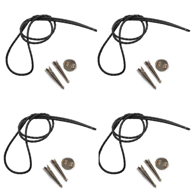Blank Bolo String Tie Kit Round Slide Smooth Tips Black Vinyl Braid Silver Tone