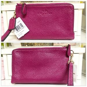 Cranberry Pebble Coach Wristlet - Brand New with Tags