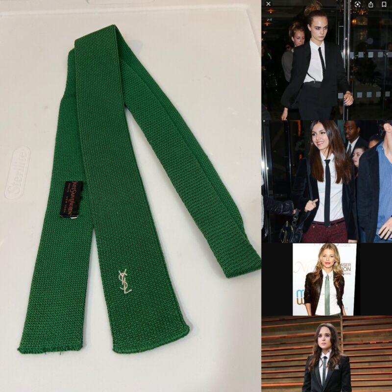 "Vintage 80s YVES SAINT LAURENT Green Wool Skinny Square Knit Neck Tie 2"" X 55"""
