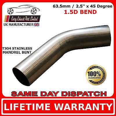"""63mm 2.5"""" x 45 Degree Mandrel Exhaust Bend T304 Stainless Steel 1.5D 1.5mm Wall"""