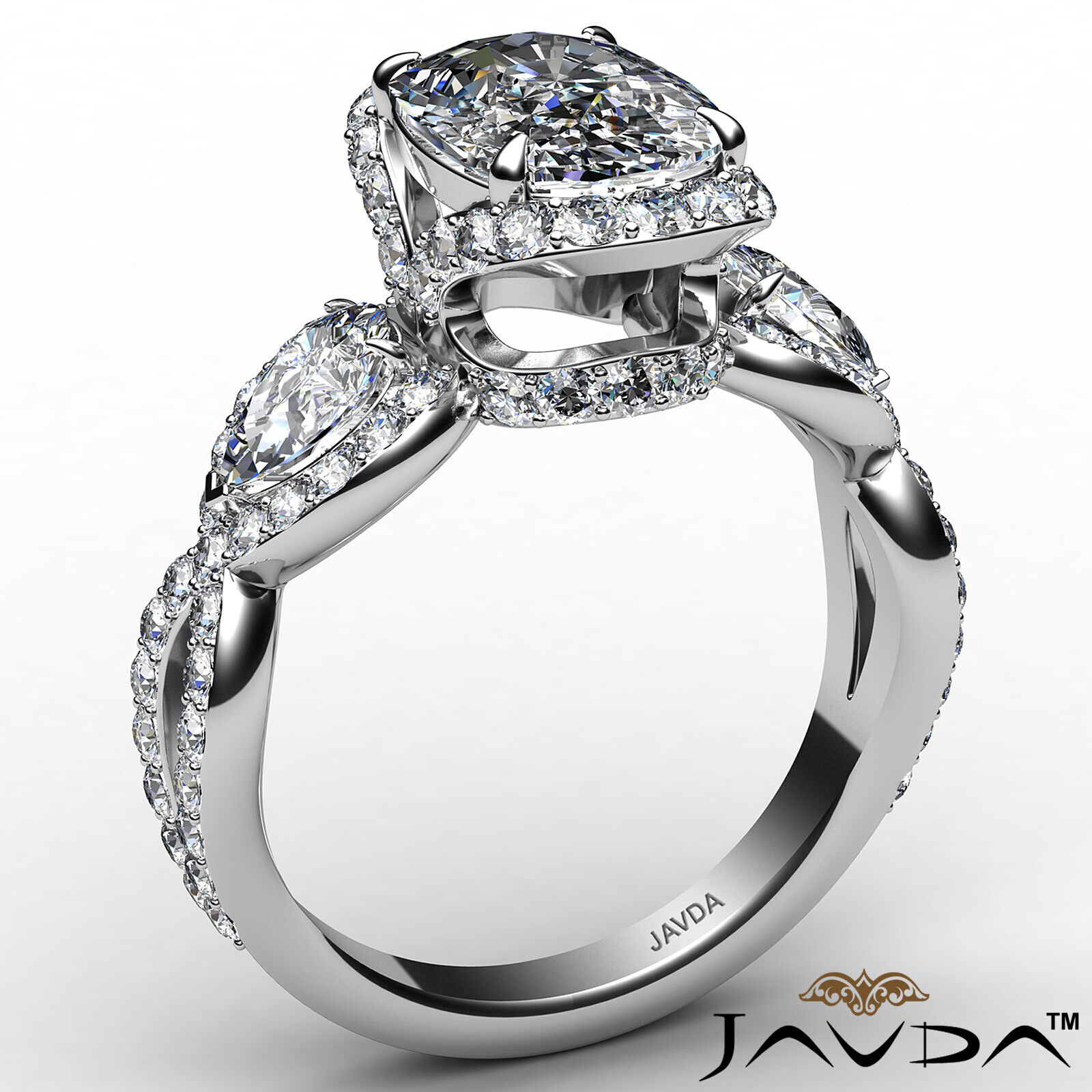 Halo Cushion Diamond Engagement Ring GIA Certified J Color & VS2 clarity 2.4 ctw 3