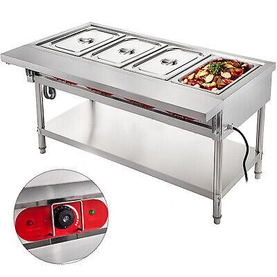 Steam Table Food Warmer Buffet 4 Pans Steamer Bain Marie Restaurant 110v 2000w