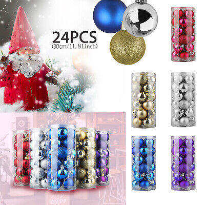 24PCS Christmas Xmas Tree Ball Bauble Home Party Ornament Hanging Decor 30mm New ()