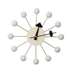 Nelson Style Ball Clock 12 Diameter White Multi Color Mid Century Modern WHITE