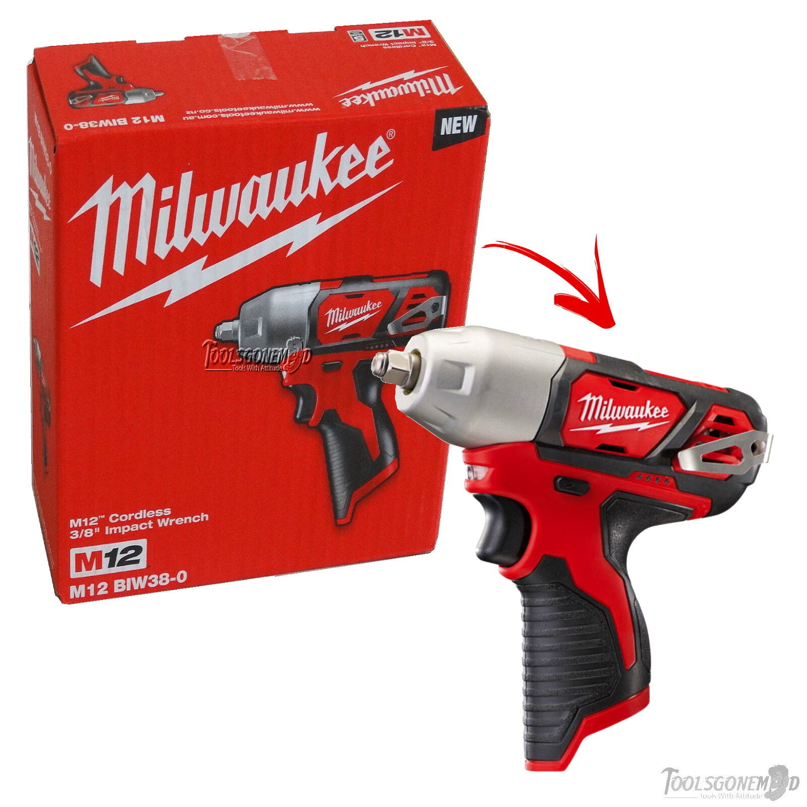 "Milwaukee 12V Li-Ion Cordless Compact Impact Wrench Drill 3//8/"" Body Only"