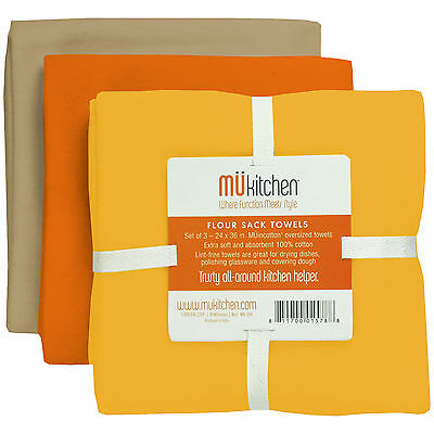 Set/3 MU Kitchen Cotton Flour Sack Tea Towels Sunset Yellow Orange Khaki - NEW - Mu Kitchen Cotton