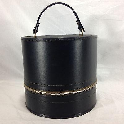 "Vintage Black 9"" Round Hat Wig Train Travel Case Box Luggage Zipper"