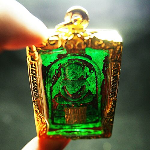 Green Jade Phra Somdej  Pim Kaiser Wat Phra Kaew Wangna Thai Amulet
