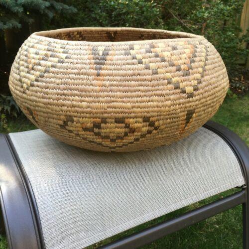 Vintage Large Native American Indian Basket Papago Storage Polychrome Excellent!
