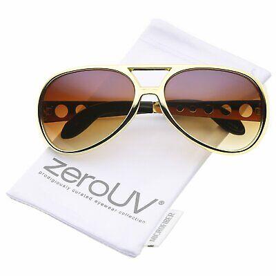 Men's Elvis Replica Aviator Sunglasses, UV400 Amber Lens Gold Plastic Frame L (Replica Sun Glasses)