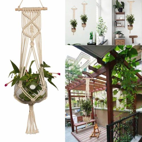 Pot Holder Macrame Plant Hanger Wall Hanging Planter Basket Jute Braided Rope