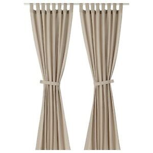 300cm beige IKEA LENDA Curtains with tie-backs