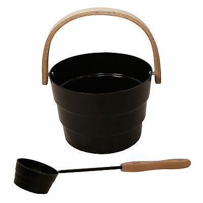 PYÖRRE Black Aluminium sauna bucket, 6 litres, matching sauna ladle