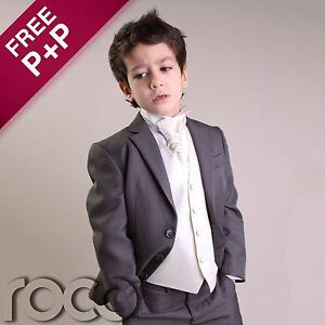 Boys-Grey-Ivory-4pc-Wedding-Pageboy-Formal-Prom-Christening-Suit-6m-16-yrs