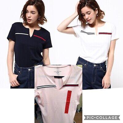 Split-neck T-shirt (Ladies Tommy Hilfiger Split neck Logo Tracey Tshirt, T Shirt)