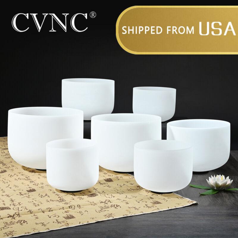 "CVNC 440hz 6""-12"" 7 Pcs Quartz Crystal Singing Bowl Chakra Set Mallet"