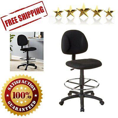 Drafting Chair Ergonomic Armless Home Office Waterfall Seat Design Wheeled Black