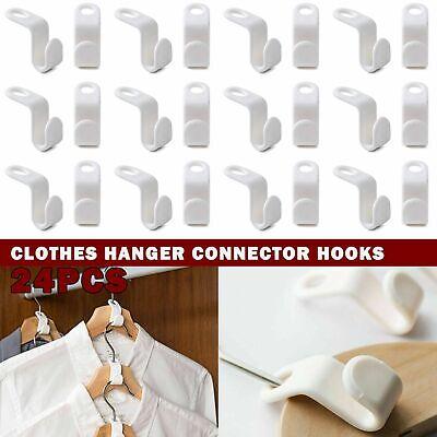 24x Clothes Hanger Connector Hooks Closet Hangers Organizer Space-saving Clip