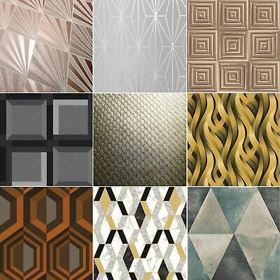 Muriva Geometric Wallpaper Metallic Textured Geo Apex Triangles Trellis Diamonds