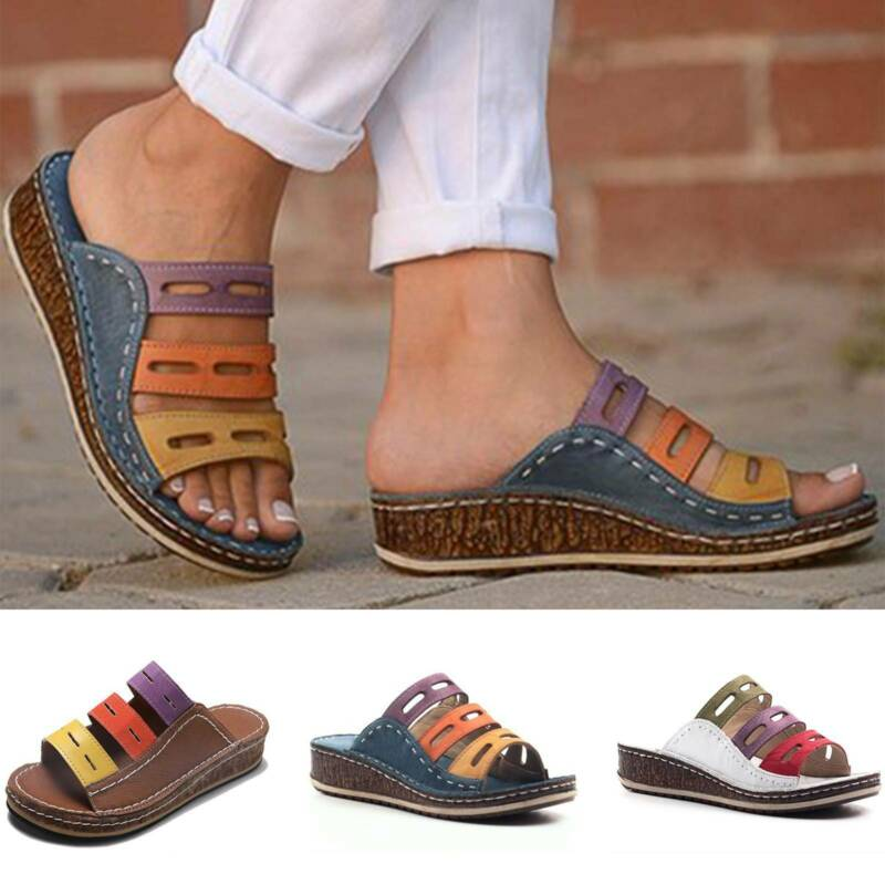 Women Slip On Flatform Wedge Sandals Slipper Lady Summer Bea