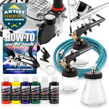 Buy and sell Airbrush Kit with 3 Airbrushes - Gravity Siphon Feed Air Compressor 6 Color Set near me