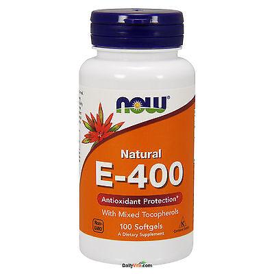 Now Foods Vitamin E 400 Iu Mixed Tocopherols 100 Softgels  100  Natural  Fresh
