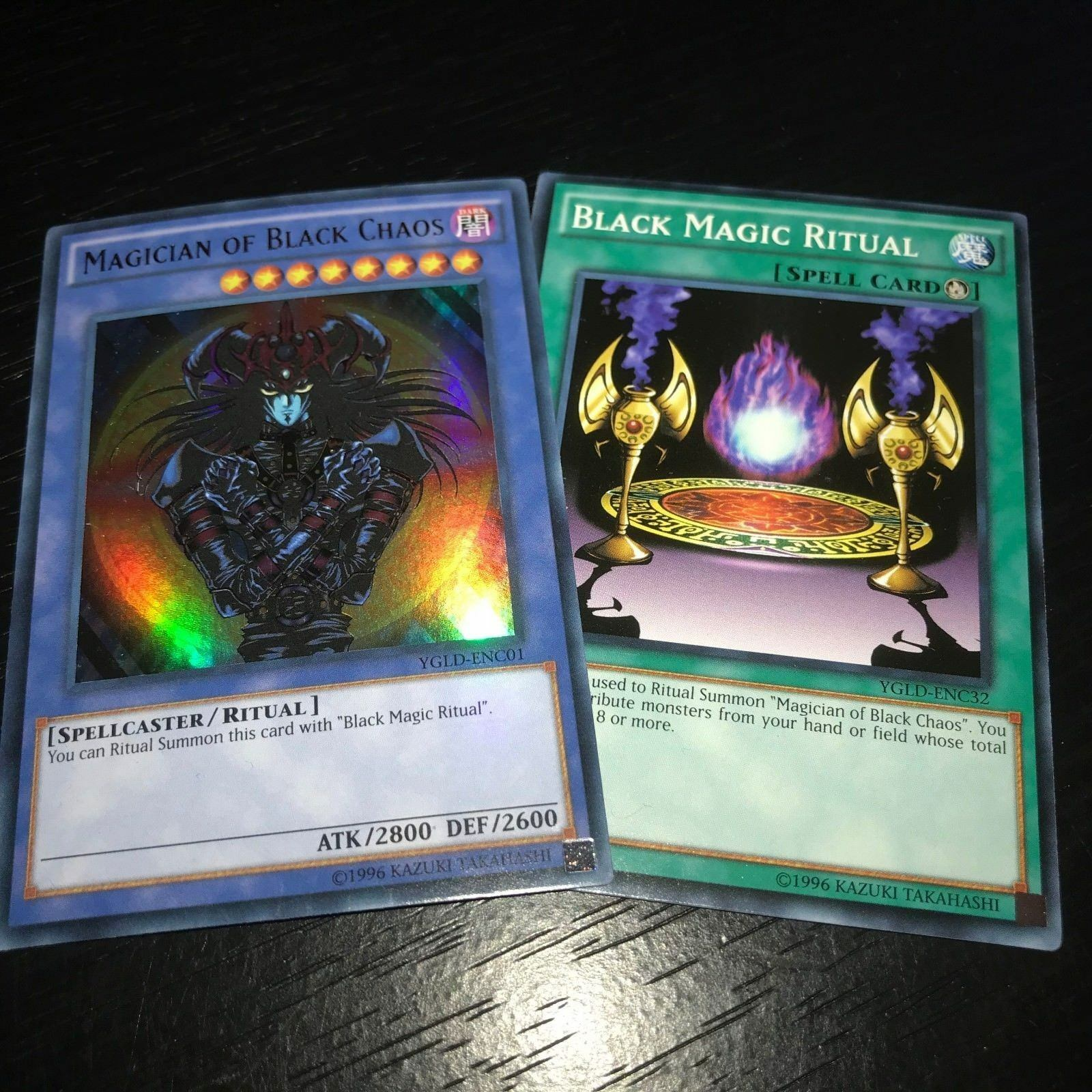 YUGIOH: MAGICIAN OF BLACK CHAOS BLACK MAGIC RITUAL - YGLD 2 CARD SET NM