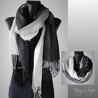 Leichte Schal Damen & Herren mit Fransen Loop Tuch - Farbverlauf schwarz weiß