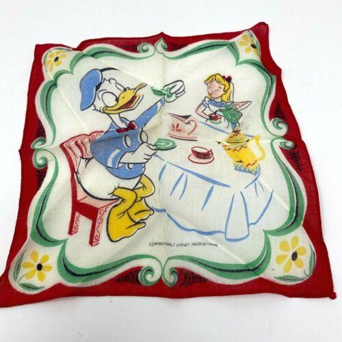 Disney Handkerchief Donald Duck Alice In Wonderland 1950s